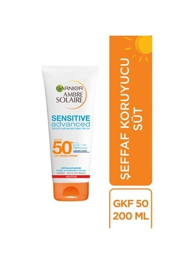 Garnier Ambre Solaire Sensitive Advanced Koruyucu Süt Gkf50+ 200Ml Renkli